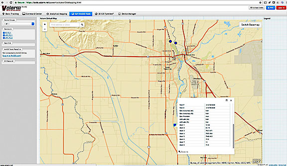 Valarm GIS Mapping screen shot.
